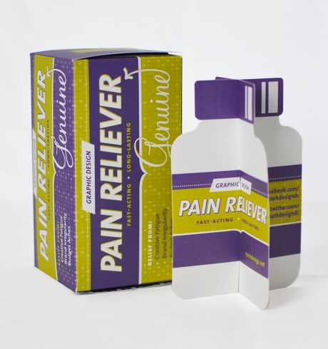 Spark Design Box and Bottle Pain Relief Promo